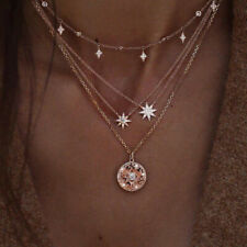 Boho Multi-layer Gold Chain Choker Necklace Star Moon Pendant Jewellery Gift