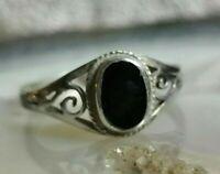 gothic ethno ring silber 925 mit black onyx 17 mm 70er jahre top