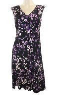 Marks & Spencer Per Una Purple & Black Floral Skater Sleeveless Dress Orig Price