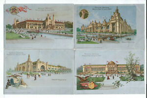 Lot of 4 1904 St. Louis World's Fair Postcards Hold to Light Transparencies