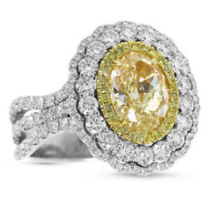 8.21Ct Oval Citrine Two Tone Round Cz And Citrine Side Stone Flower Wedding Ring