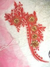 "Embroidered 3D Applique Red Gold Floral Sequin Patch 16"" (DH74)"