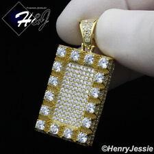 Bling Gold Dog Tag Charm Pendant*Gp252 Men 925 Sterling Silver Lab Diamond