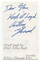 Anthony Sherwood Signed 3x5 Index Card Autographed Signature Actor Film Director