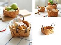 Home Decor Japanese Handwoven Bread Basket Wooden Fruit Vegetable Storage Basket