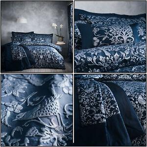 Navy Blue Duvet Cover Oak Tree Jacquard Floral Bird Tree Quilt Cover Set Bedding