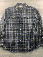 Tommy Bahama Men's SZ L Navy Plaid Long Sleeve Button up Shirt