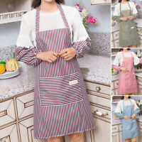 Kitchen Oilproof Housework Waterproof Cooking Plain Stripe Apron With Sleeve Set