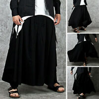 Mens Japanese Harem Baggy Pants Hippy Dance Casual Wide Leg Hakama Trousers NEW