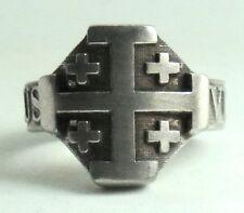 Ring,Kreuzritter, Ritterorden vom Heiligen Grab zu Jerusalem mit Motto DEUS VULT