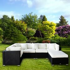 6PC Outdoor Furniture Set Patio Garden Lawn Sectional PE Wicker Ratten Sofa Set