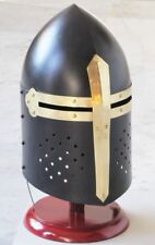 Black Knight Sugarloaf Armour Helmet w/ Wooden Stand Reenactment Larp Style Gift