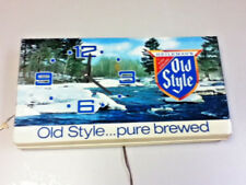Old Style lager beer sign vintage wall clock water scene light box lighted bar