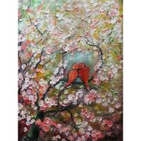 LOVE is in the SPRING Air Red Lovebirds Original Oil Painting Heavy Textured ART