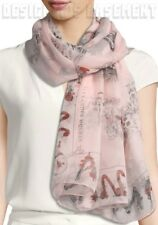 """ALEXANDER MCQUEEN pink SKULL CABINETS silk chiffon 54"""" scarf NWT Authentic $425!"""