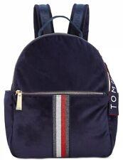 New TOMMY HILFIGER Isa Metallic Flag Velvet Backpack Navy Gold zip closure bag