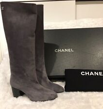 NIB Chanel 16B CC Grey Suede Calfskin High Boots Size 37.5 $1600