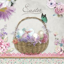 4 Single paper decoupage napkins. Easter basket design, eggs,butterflies-  E43
