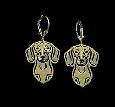Dachshund Dog Earrings-Fashion Jewellery Gold Plated, Leverback Hook