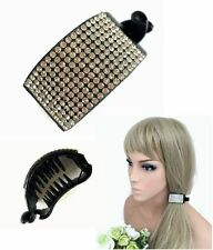 Round Domed Diamante Black Banana Clip Hair Clip Claw with Crystals Ponytail