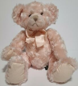 """Russ Berrie Isabella 4039 Plush Teddy Bear 13"""" Pink Bow Original Tags Poseable"""