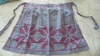 Antique HALF APRON Navy Blue Gingham Check, Red X-Stitch Embroidered