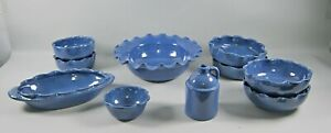 10pc Lot of Bybee Pottery SOLID BLUE Pottery Pieces  Bowls and Growler