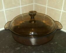 vintage French vision corning microwave browner casserole dish with lid 20cm