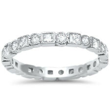 2.5mm Full Eternity Stackable Band Ring Round Square Set CZ 925 Sterling Silver