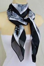 New Women Black White Nautical King Crown Tassel Rose Flower Silk Fashion Scarf