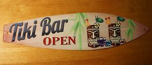 TIKI BAR OPEN IDOL MASKS Tropical Drink Sign Rustic Beach Surfboard Home Decor