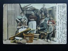 More details for fishing family baiting the net arbroath line scull basket weaving c1907 postcard