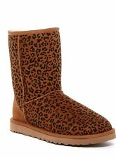 UGG Australia CLASSIC SHORT CHESTNUT ROSETTE LEOPARD BOOTS US 7 EU 38 NEW IN BOX