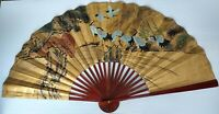 """Large Oriental Hand Painted Fan with Cranes Birds Decorative Wall Art 40"""" x 73"""""""