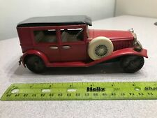"Vintage 1929 Red / Black Touring Sedan Friction Tin Litho Toy Car - 7"" long"