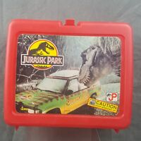 Vintage Jurassic Park Red Plastic Lunchbox Thermos Brand
