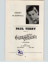 1945 Movie Stars Ad 20th Century Fox Roddy McDowall Paul Terry Toons Technicolor