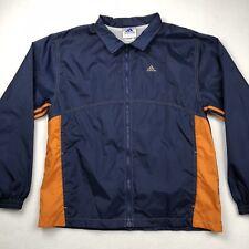 VTG ADIDAS Men's Rain Jacket Windbreaker Mesh Lined Navy Blue + Orange • MEDIUM