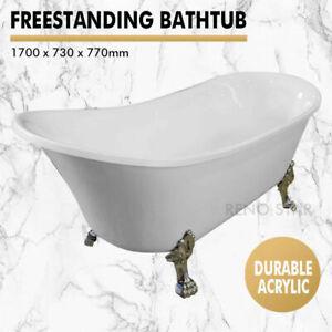 1700*730*770mm Freestanding Bath Tub Gloss White Acrylic Claw Feet Durable