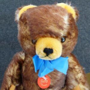 "Hermann Brown Tipped Teddy Bear, 12"", Growler, Mint, West Germany, 70-30, Blue R"
