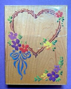 Stampendous Rubber Stamp Wood Mt Flowered Heart Border Ribbon Bow Frame R005 VTG