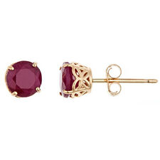 1.4 CARAT RUBY STUD EARRINGS 5mm ROUND CUT 14KT YELLOW GOLD JULY BIRTH STONE
