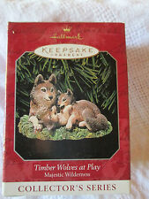 1998 Hallmark Keepsake Ornament Timber Wolves at Play  Majestic Wilderness New