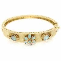 Vintage 14K Yellow Gold Australian Opal Florentine Open Hinged Bangle Bracelet