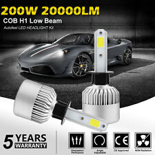 2x H1 20000LM 200W CREE LED Headlight Kit COB Conversion Beam Bulbs 6000K White