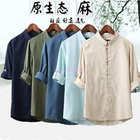 Classic Chinese Style Mens Kung Fu Shirt Tops Tang Suit 3/4 Sleeve linen Summer