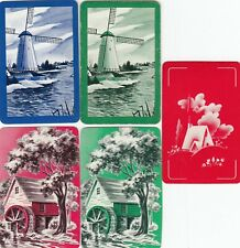 MINIATURES - 5    single vintage swap playing cards !