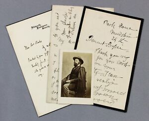 1892 funeral of Alfred Lord TENNYSON   letters from poet's sister and son + CDV