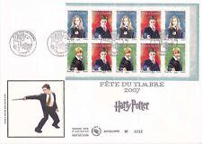 Enveloppe grand format 1er jour 2007 La fête du timbre Harry Potter carnet