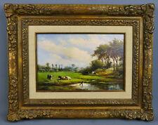 Albert Jurardus Van Prooyen,1834, weidende Kühe, Goldrahmen, Öl auf Holz